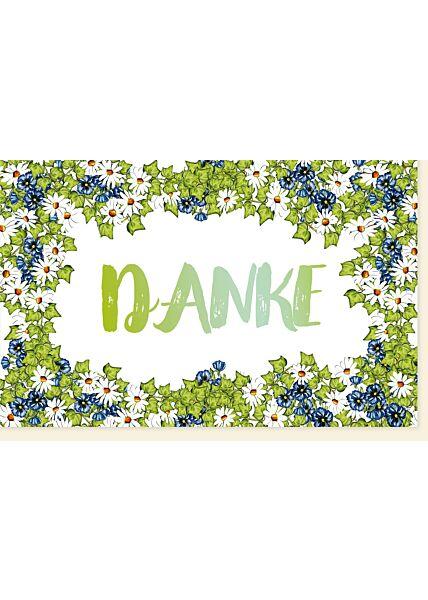 Danksagungskarte grün Blumen Danke