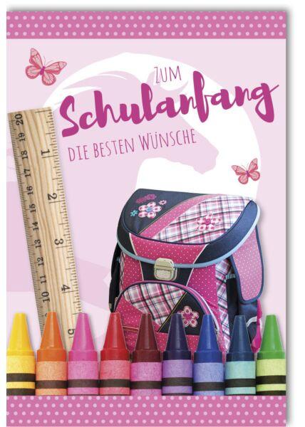 Glückwunschkarte zur Einschulung Mädchen Schmetterling