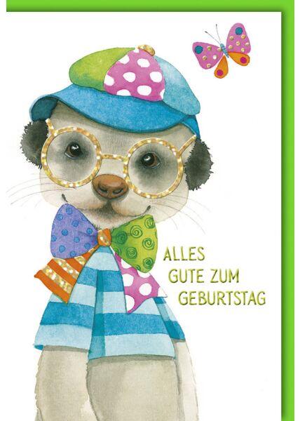 Geburtstagskarte für Kinder Erdmännchen mit Kappe auf Naturkarton