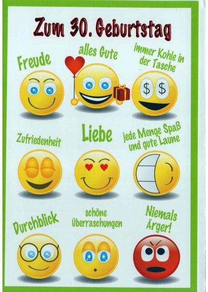 Geburtstagskarte 30. Geburtstag: Smileys mit Glückwünschen