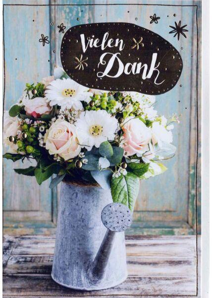 Karte Danke: Blumenstrauß in Gießkanne