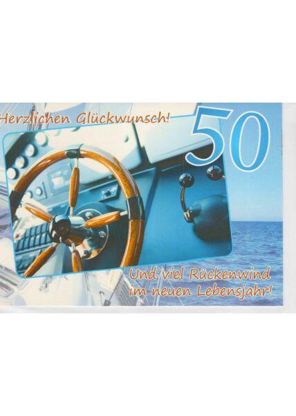 Geburtstagskarte 50 Schiff und viel Rückenwind im neuen Lebensjahr