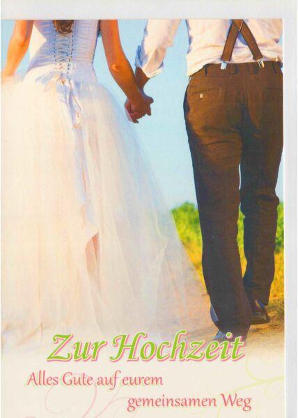Hochzeitskarte Brautpaar gemeinsamer Weg