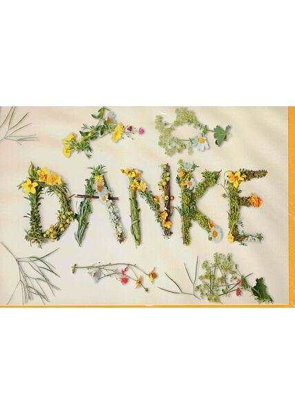 Grußkarte Danke Dankeskarte Blumen und Sträucher
