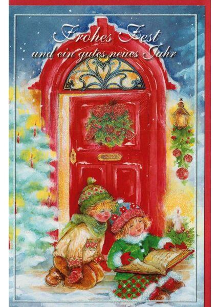 Weihnachtskarten nostalgisch Kinder Tür Buch