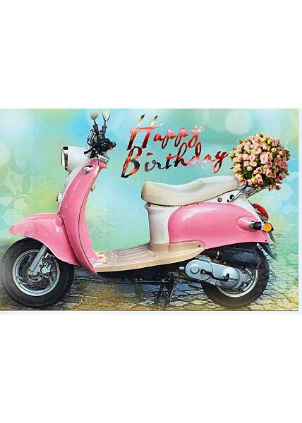 Glückwunschkarte Geburtstag Frauen Roller rosa