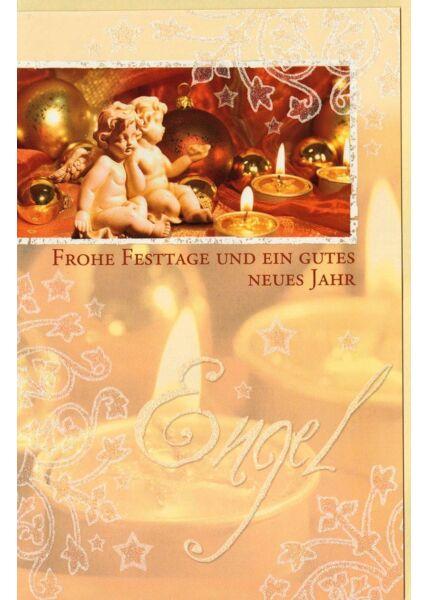 Weihnachtskarte zwei Engel Kerzen