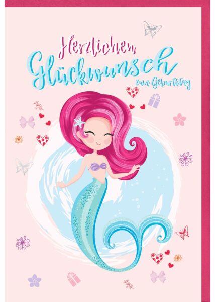 Karte Geburtstag Kind Mädchen Meerjungfrau