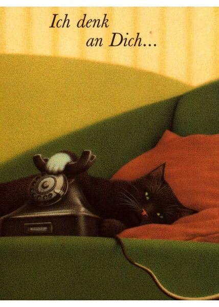 Postkarte Katze Ich denk an Dich