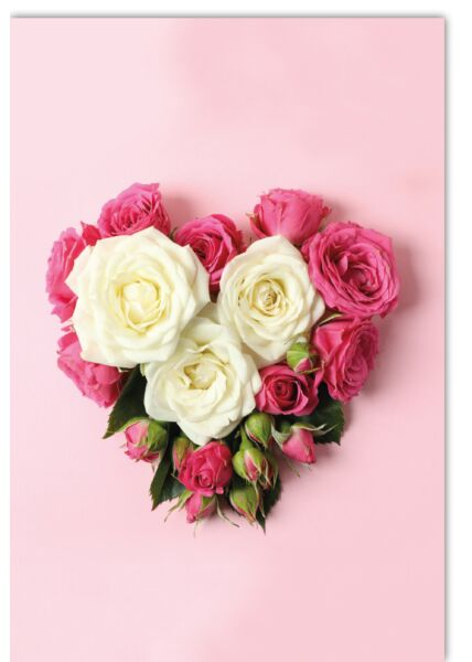 Blankokartekarte - Rosengesteck als Herz