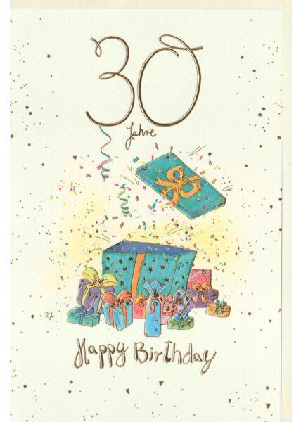 Geburtstagskarte 30 Jahre Geschenke, Naturkarton, mit Goldfolie und Blindprägung