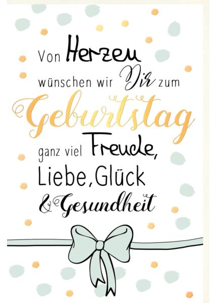 Karte Geburtstag Freude, Liebe, Glück