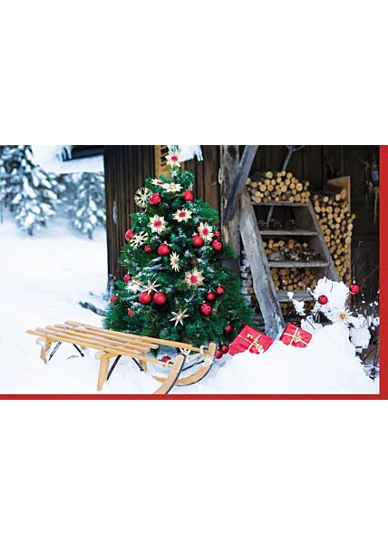 Weihnachtskarte Schlitten Schnee neutral