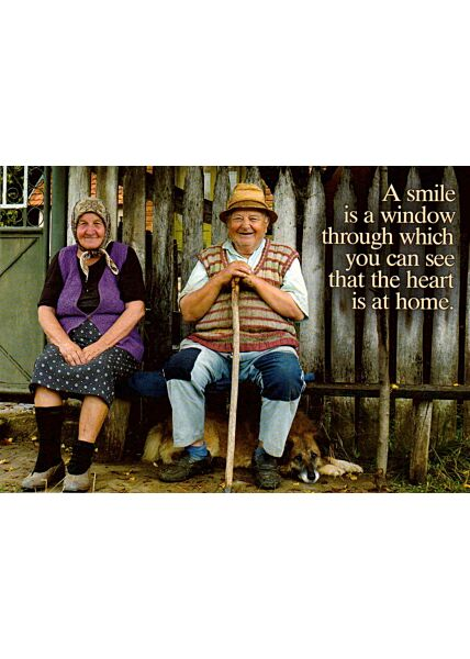 Postkarte Spruch englisch A smile is a window...
