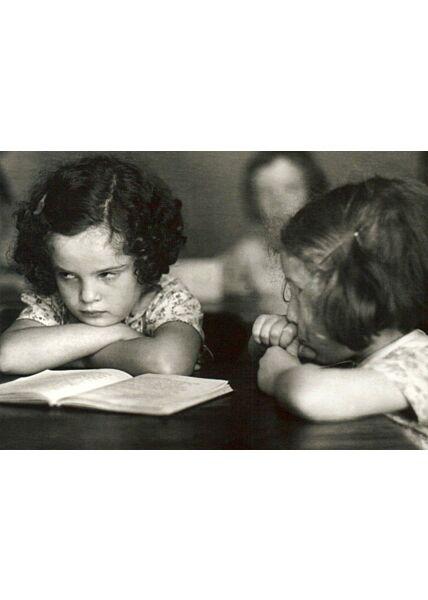 Postkarte schwarz weiß Sulking Schoolgirl