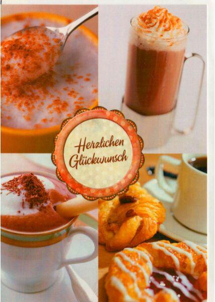 Glückwunschkarte Kaffee und Gebäck