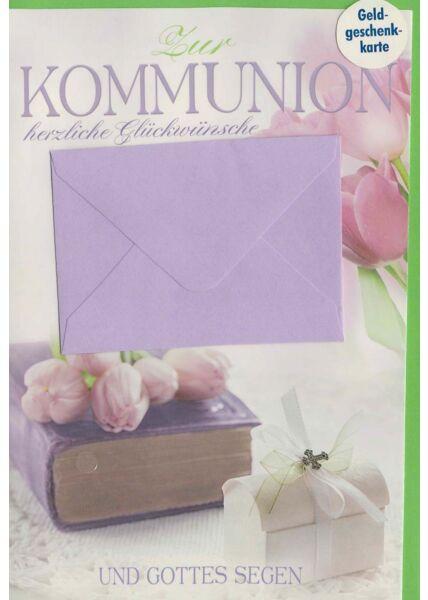 Glückwunschkarte Kommunion mit lila Geldumschlag