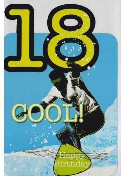 Geburtstagskarte 18 Jahre Junge Surfer
