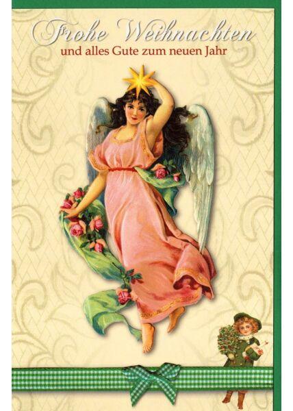 Weihnachtskarte Retromotiv Engel Kuvert grün