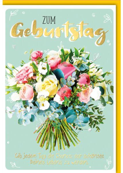Geburtstagskarte - bunter Blumenstrauß