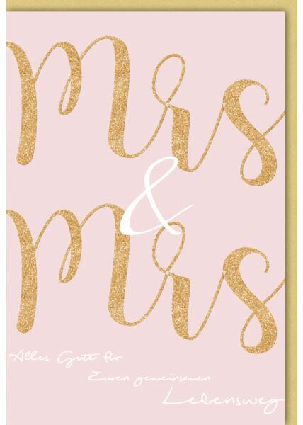 Hochzeitskarte Homo-Ehe lesbisch - Mrs & Mrs