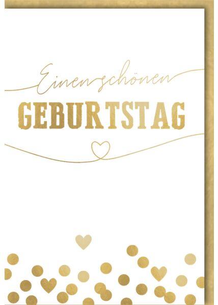 Geburtstagskarte Spruch goldene Punkte & Herzen