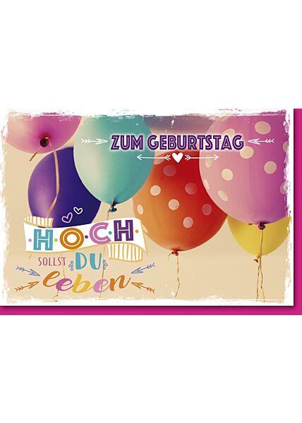 Geburtstagskarte mit Spruch Bunte Ballons