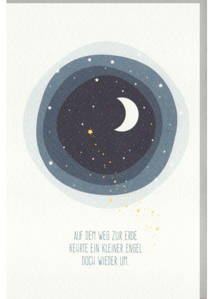 Sternenkinder Trauerkarte Baby Halbmond, Sterne, Naturkarton