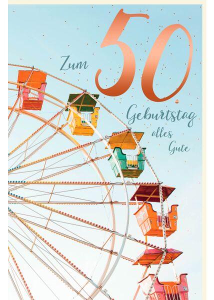 Geburtstagskarte 50 Zahlengeburtstag alles Gute