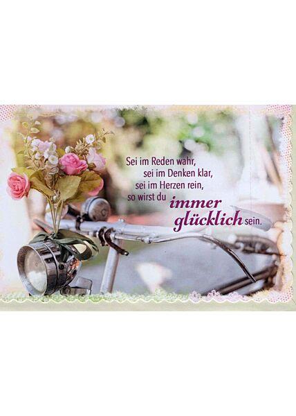 Karte Sprüche: Fahrradlenker mit Blume