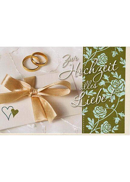 Glückwunschkarte Hochzeit: Zur Hochzeit alles Liebe