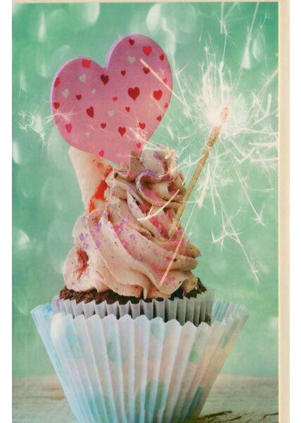 Geburtstagskarte ohne Text: Cupcake Glimmer