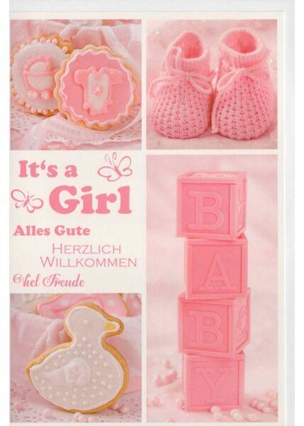 Glückwunschkarte Mädchen Geburt Herzlich Willkommen