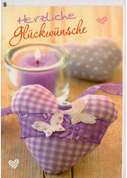 Glückwunschkarte zwei Herzen und Teelicht