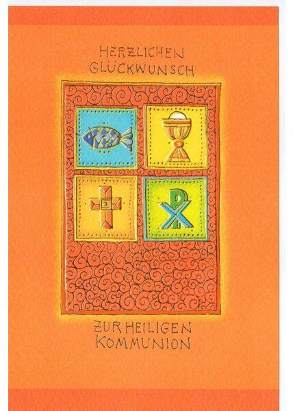 Karte Kommunion braun orange hochwertig