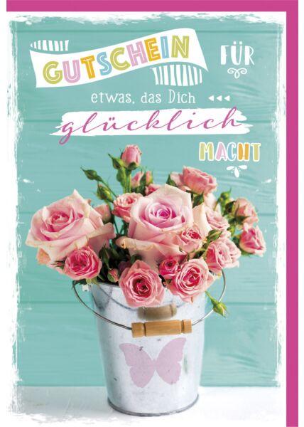 Gutscheinkarte - Rosa Rosen im Eimer