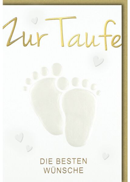 Glückwunschkarte Taufe - Glückwunschkarte Geburt Babyfußabdrücke hell