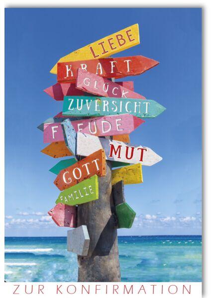 Glückwunschkarte Konfirmation Liebe Kraft Glück Mut Gott