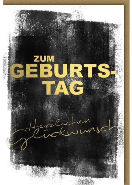 Geburtstagskarte premium Schwarzes Aquarell