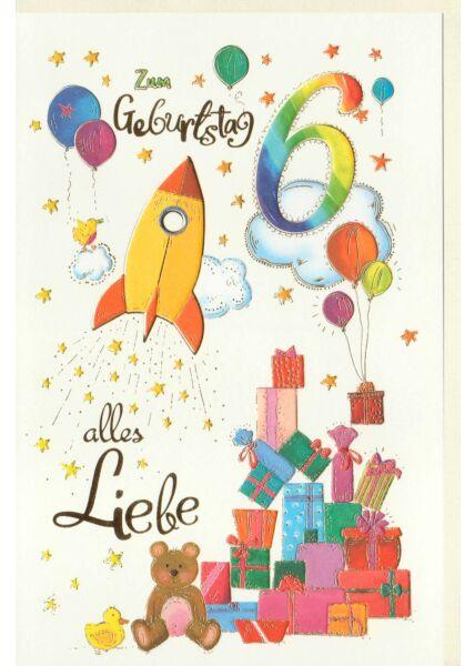 Kinder Geburtstagskarte Rakete und Geschenke, Naturkarton, mit Goldfolie und Blindprägung