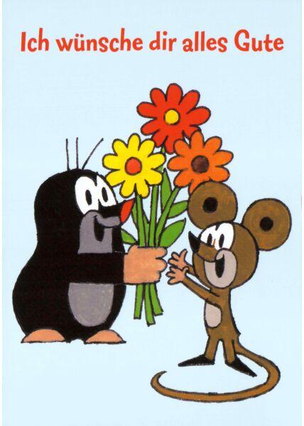 Postkarte für Kinder Der kleine Maulwurf Ich wünsche Dir alles Gute