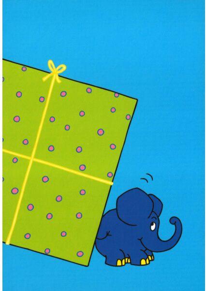 Maus-Postkarte Elefant mit halben Geschenk Teil 2
