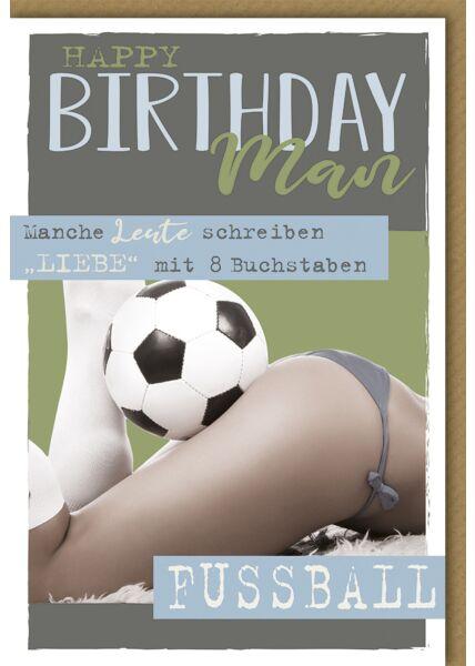 Geburtstagskarte für Männer Happy Birthday Man Fußball