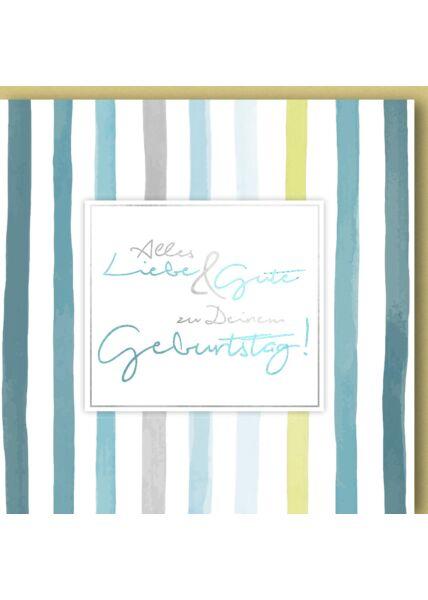 Geburtstagskarte quadratisch Weißes Schild auf Streifen