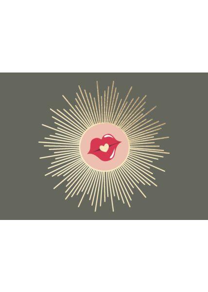 Postkarte Liebe blanko Kussmund