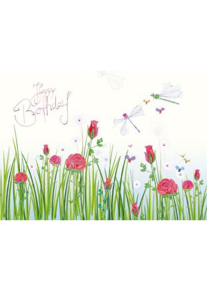 Postkarte Geburtstag Wiese Blumen Schmetterlinge