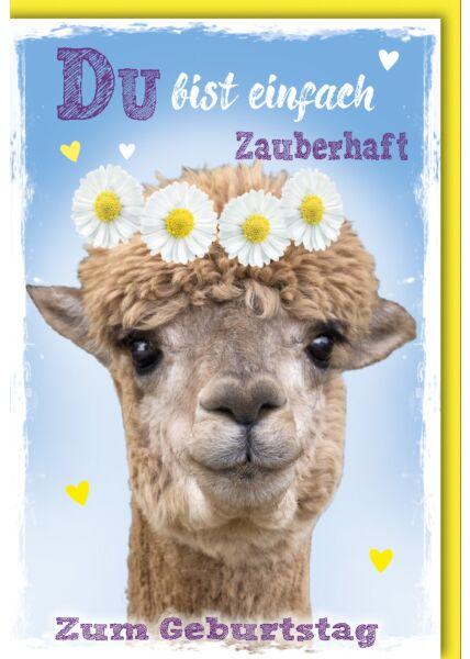 Glückwunschkarte Geburtstag Alpaka mit Blumenkranz