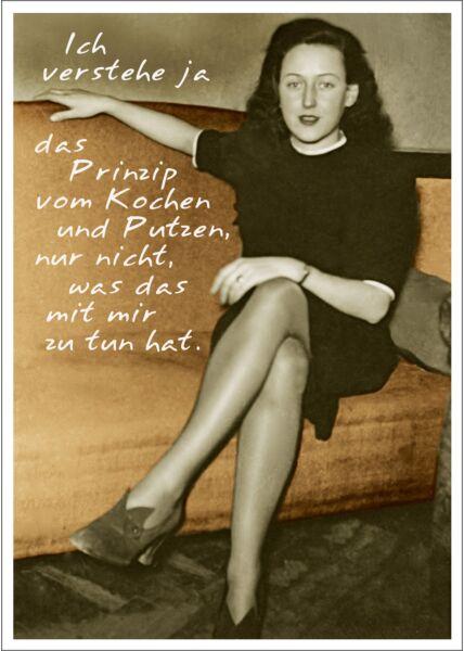 Postkarte Spruch lustig Ich verstehe ja das Prinzip vom Kochen und Putzen