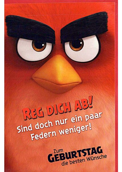 """Geburtstagskarten für Kinder Angry Birds """"Reg Dich ab"""""""