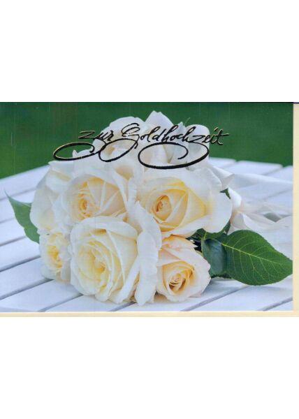Glückwunschkarte zur Goldhochzeit. Rosen weiß